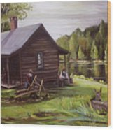 Log Cabin By The Lake Wood Print