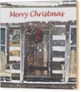 Log Cabin Christmas Wood Print