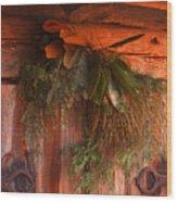 Log Cabin Christmas Decor Wood Print