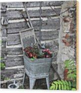 Log Cabin Garden Scene Wood Print