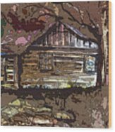 Log Cabin In Autumn Wood Print by Mindy Newman