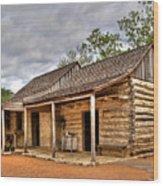 Log Cabin In Lbj State Park Wood Print