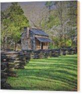 Log Cabin, Smoky Mountains, Tennessee Wood Print