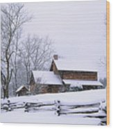 Log Cabin In Snow Wood Print