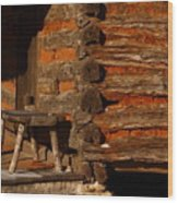 Log Cabin Wood Print by Robert Frederick