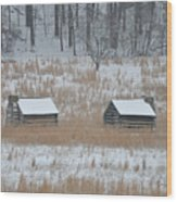 Log Cabins In Valley Forge Wood Print