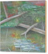 Log In The Pond Wood Print
