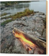 Log On Fire Manitoba Lake Wilderness Wood Print