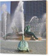 Logan Circle Fountain Wood Print