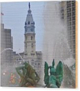 Logan Circle Fountain With City Hall In Backround 2 Wood Print by Bill Cannon