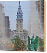 Logan Circle Fountain With City Hall In Backround 3 Wood Print