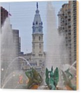 Logan Circle Fountain With City Hall In Backround 4 Wood Print by Bill Cannon