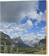 Logan Pass Panorama - Glacier National Park Wood Print
