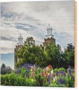 Logan Temple Flowers Wood Print
