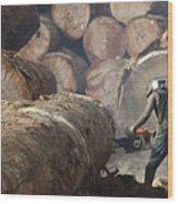 Logger Cutting Tree Trunk, Cameroon Wood Print