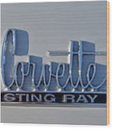 Logo Of 1966 Chevrolet Corvette Sting Ray 427 Turbo-jet Wood Print
