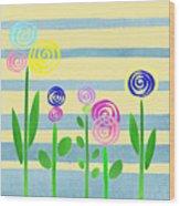 Lollipop Flower Bed Wood Print