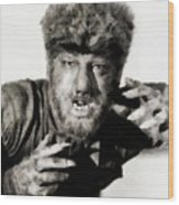 Lon Chaney, Jr. As Wolfman Wood Print