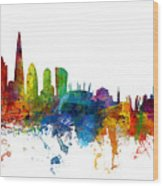 London And Warsaw Skylines Mashup Wood Print