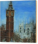 London Big Ben Clock  Wood Print