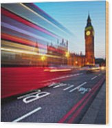 London Big Ben Wood Print