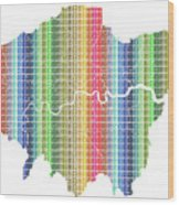 London Boroughs Map - Rainbow Wood Print
