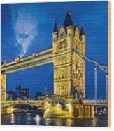London Bridge Panorama Wood Print