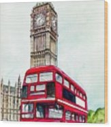 London Bus And Big Ben Wood Print