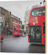 London Buses Wood Print