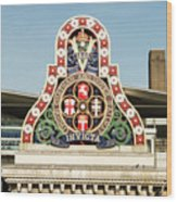 London Chatham And Dover Railway Crest With Invicta Motto Blackfriars Railway Station Wood Print
