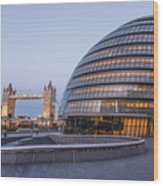 London City Hall And Tower Bridge. Wood Print