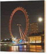 London Eye At Night Wood Print