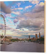 London Eye Evening Wood Print