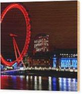 London Eye Wood Print by Heather Applegate