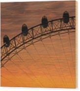 London Eye Sunset Wood Print