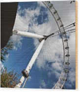 London Ferris Wheel Wood Print
