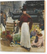 London Flower Girls Piccadilly Circus Wood Print