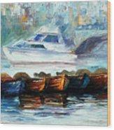 London-fog Over Thames - Palette Knife Oil Painting On Canvas By Leonid Afremov Wood Print