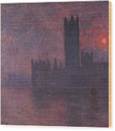 London Houses Of Parliament At Sunset  Wood Print