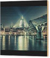 London Landmarks By Night Wood Print