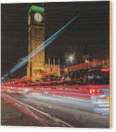 London Lit Wood Print