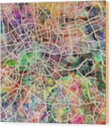 London Map Art Watercolor Wood Print