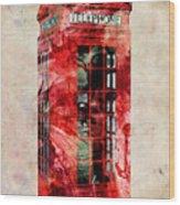 London Phone Box Urban Art Wood Print