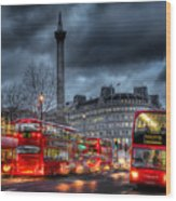 London Red Buses Wood Print