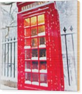 London Red Telephone Booth  Wood Print