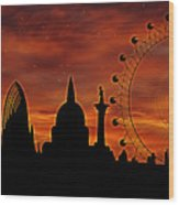 London Skyline At Dusk Wood Print