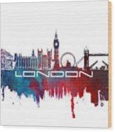 London Skyline City Blue Wood Print