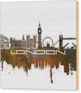 London Skyline City Brown Wood Print