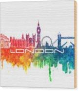 London Skyline City Color Wood Print