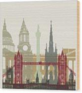 London Skyline Poster Wood Print